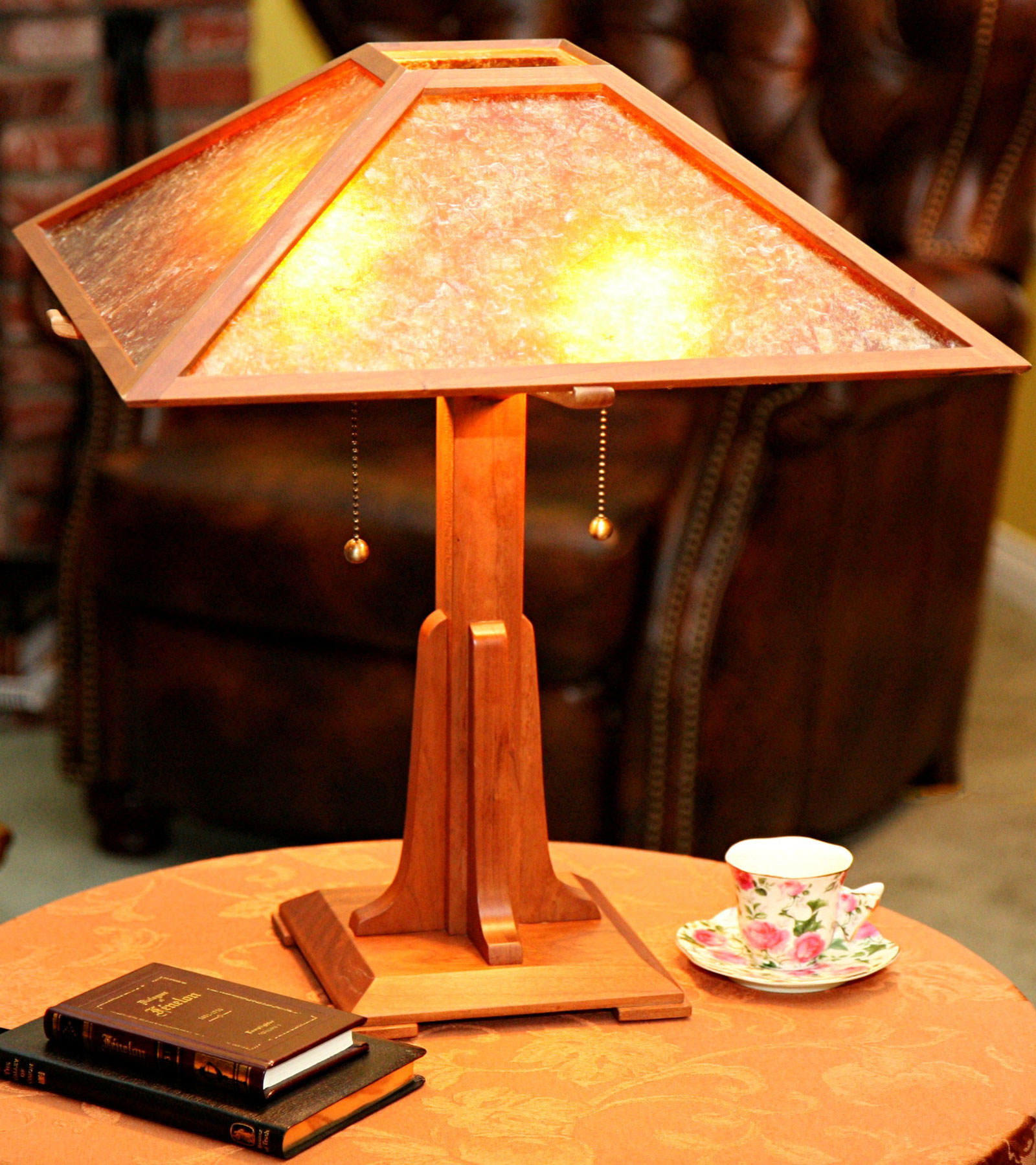 Arts and crafts table lamp with mica shade gathering wood contact us aloadofball