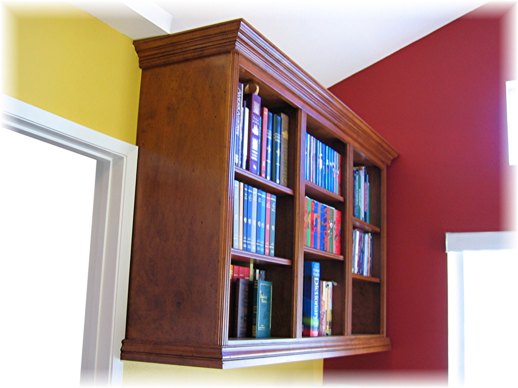 wall mounted bookcase gathering wood. Black Bedroom Furniture Sets. Home Design Ideas