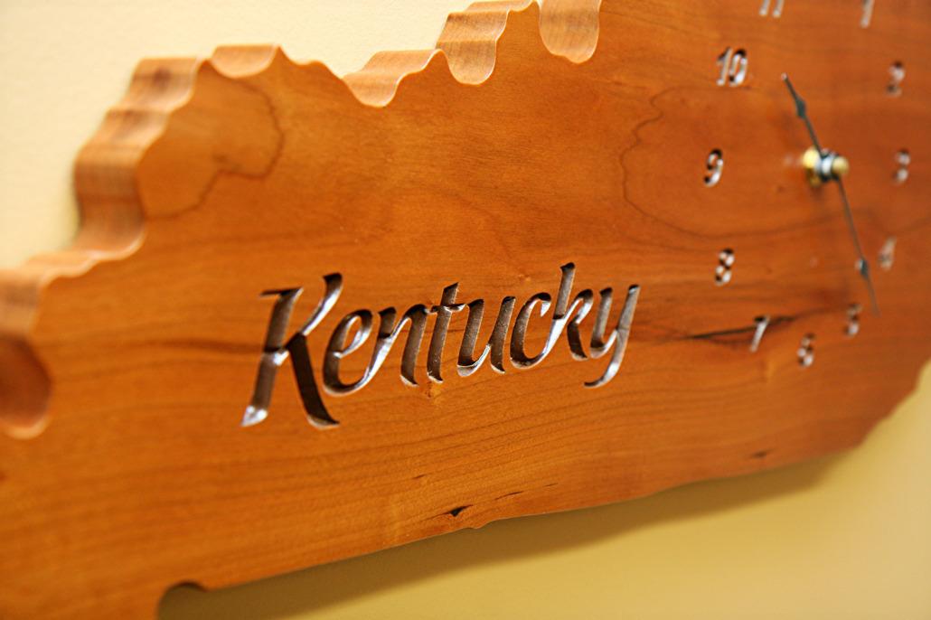 Kentucky Shaped Wall Clock Gathering Wood