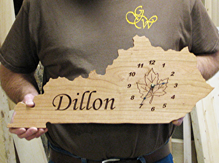 Custom Kentucky Clock Surname Maple Leaf