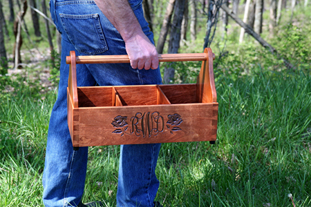 Wooden Garden Tool Tote Rose Monogrammed copy